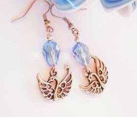 BUY 4 - GET 1 pair earrings FREE..Blue crystal drop swan earrings- comfortable elegant- great gift