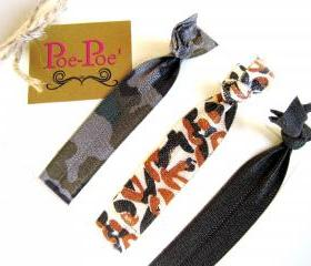 Hair Ties, Bracelets, FOE, Camouflage, Brown, Orange - FREE SHIPPING