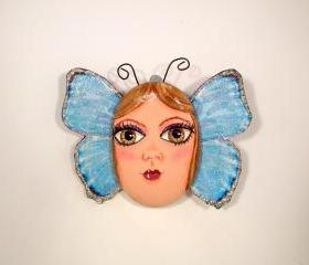 Fairy Butterfly Handpainted Rock One of a Kind Hanging Wall Decor
