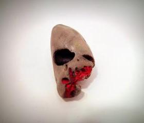 Skeleton Skull Veined Gothic Gorey Hand Painted Rocks One of a Kind