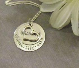 GRANDMA HEART - Hand stamped Necklace - Mothers Necklace-Personalized Jewelry