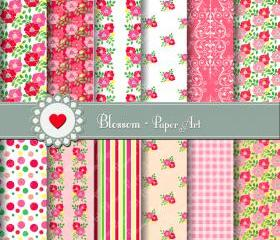Red Pink Flowers - Digital Paper - Scrapbooking - DIY Projects - Personal and Commercial Use - 1387