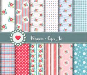 Flowers - Pink - Light Blue - Digital Papers - DIY Projects - Decoupage - Scrapbooking - Cardmaking - Party - 1401
