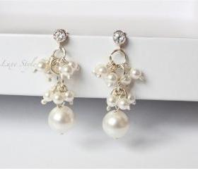 Cluster Earrings, Sterling Silver Dangle Earrings, Swarovski Pearl Earrings, Bridal Jewelry