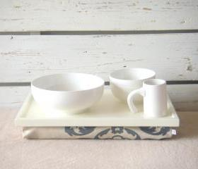 Breakfast serving Tray or Laptop Lap Desk- Off White with Linen fabric, printed with Grey patterns- Custom Order