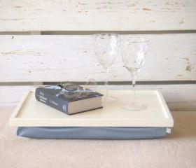 Wooden Laptop Lap Desk or Breakfast serving Tray - Off White with light blue, slighty shinny polyester fabric- Custom Order