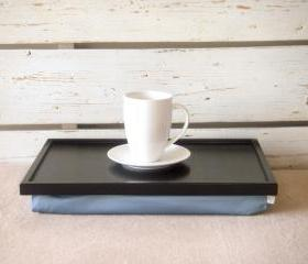 Wooden Laptop Lap Desk or Breakfast serving Tray - Black with light blue, slighty shinny polyester fabric- Custom Order
