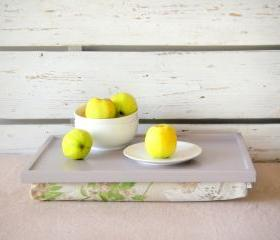 Wood Breakfast serving or Laptop Lap Desk- Soft grey with White and Green Vintage flower printed Linen Pillow