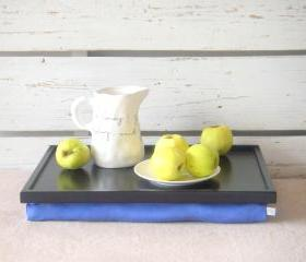 Breakfast serving or Laptop Lap Desk- Black with Blue Linen farbric- Custom Order
