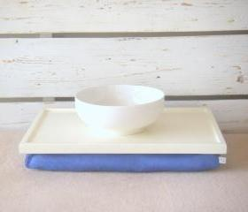 Breakfast serving or Laptop Lap Desk- Off White with Blue Linen farbric- Custom Order