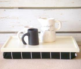Laptop Lap Desk or Breakfast serving Tray - Off White with Black and White striped Jersey fabric PIllow - Custom Order