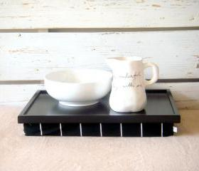 Laptop Lap Desk or Breakfast serving Tray - Black with Black and White striped Jersey fabric PIllow - Custom Order