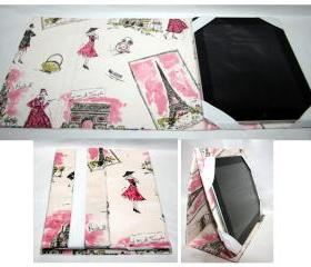 Ipad Case Stand Up Paris Fashion Pink and Cream