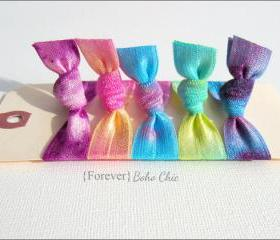 Elastic Hair Ties - Set of 5 - Forever Boho Chic Collection - Tie Dyed Hair Ties - Mane Accessory