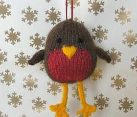 Jolly Robin knitting pattern, toy or decoration for Christmas, pdf pattern with fast shipping