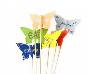 6 Party Sticks Cake Toppers, Big Rainbow Colorful Butterflies