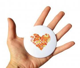 Orange heart pocket mirror