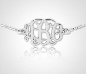 Monogram Bracelet Personalized Monogram Bracelet in Sterling Silver