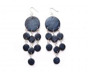 Metallic sapphire blue earrings in polymer clay, jellyfish shape