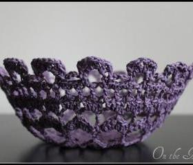 Doily Bowl Crochet Lace Basket Purple Plum