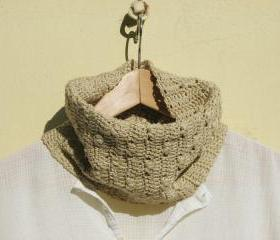 Neck warmers - Crocheted vegan cowl - Cotton - Ecru, natural color