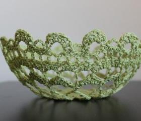 Crochet Lace Doily Bowl Basket Lime Green