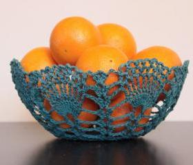 Crochet Lace Doily Bowl Basket Teal