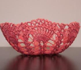 Decorative Centerpiece Bowl Crochet Basket Lace Doily Coral