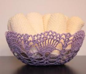 Crochet Lace Doily Bowl Basket Lavendar