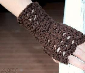 Crochet Fingerless Gloves Gauntlets Wrist Warmers Chocoate Brown