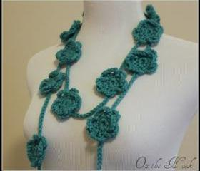 Turquoise Crochet Flower Scarf Spring Fashion Lariat