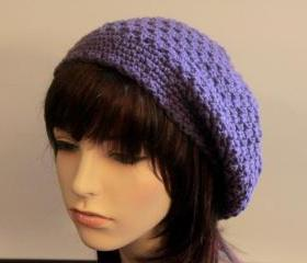Crochet Slouch Hat Plum Purple Cloche Slouchy Beanie