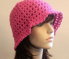 Floppy Crochet Hat Hot Pink Summer Beach Wide Brim