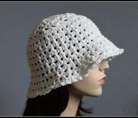 Crochet Hat White Summer Beach Floppy Wide Brim