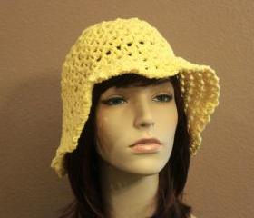 Yellow Crochet Hat Summer Beach Floppy Wide Brim