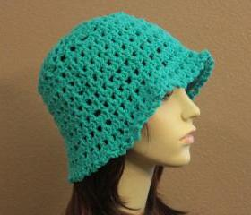 Crochet Hat Turquoise Teal Summer Beach Floppy Wide Brim