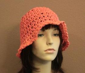 Womens Crochet Hat Tangerine Orange Summer Beach Floppy Wide Brim