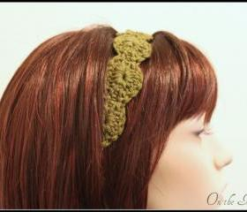 Women's Headband Crochet Hair Tie Olive Green