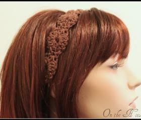 Womens Crochet Headband Brown Hair Tie