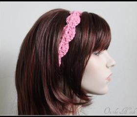 Pink Crochet Headband Hair Tie