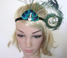  Peacock feather 1920s inspired burlesque showgirl fascinator headband