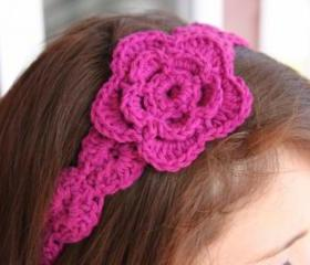 Flower Headband Crochet Hair Tie Magenta