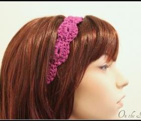 Purple Crochet Headband Hair Tie