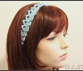 Aqua Headband Crochet Hair Tie