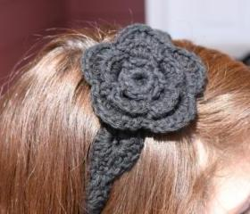 Black Headband with Flower Crochet Hair Tie