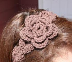 Brown Flower Headband Crochet Hair tie