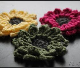 Crochet Flower Brooch Set of 3