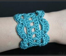 Crochet Bracelet Lace Cuff Teal Blue