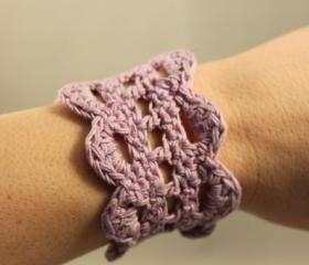Crochet Bracelet Lace Cuff Lavendar Purple