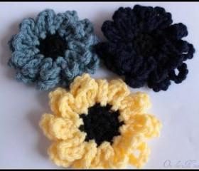 Crochet Flower Brooch Set